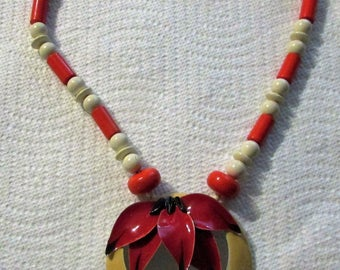 FABULOUS Midcentury Vintage 1980's Red White Necklace