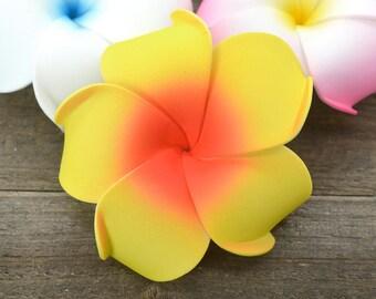 Plumeria Hair Clip, 3 inch, Yellow and Orange, Floral Hair Clips, Hawaii Hair Clips, Foam Flowers