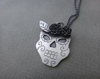 Rosy Sugar Skull Necklace