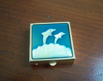 Vintage Purse Accessory Dolphin Pill Box Pill Storage