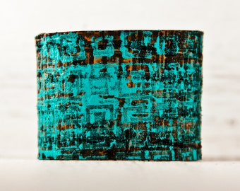 Etsy Love Casual Jewelry - Leather Wrist Cuff 2016 Trends - Teal Bracelet Turquoise Wristband Painted Leather - January Finds