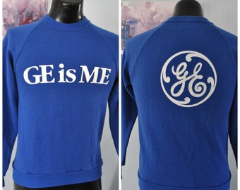 Vintage 80s Sweatshirt GE General Electric is Me Simple Royal Blue White Classic 1980s Jerzee SMALL