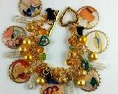 Mary Engelbreit Inspired Altered Art Brass Picture Charm Bracelet OOAK Free ship