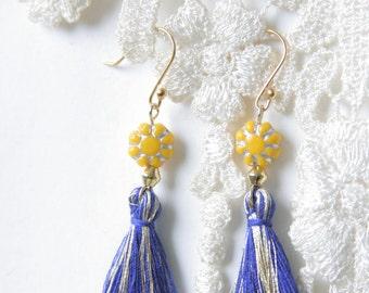 Tassel Earrings, Boho Earrings, Navy Mustard Yellow Earrings, Pink Aqua Earrings