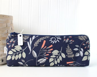 Navy Blue Woodland Pencil Case Woodland Pencil Pouch Blue Purse Organizer