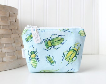 Blue and Green Bugs Coin Purse Gift Card Credit Card Holder Small Zipper Pouch Insect Change Purse