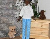 PBPJ1-06) Petite Barbie doll clothes, 1 flannel pajama set