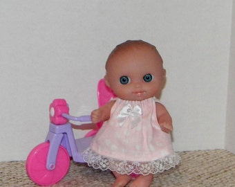 LC5DP-06) 5 inch Lil Cutesies Berenguer baby doll clothes, 1 dress with panties