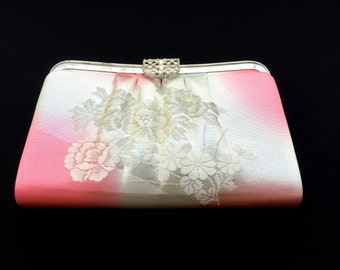 Vintage Japanese Kimono  Clutch - Vintage Clutch - Bridal Clutch - White Pink  Silver Clutch - Bridal Purse - Japanese Clutch - Japanese Bag