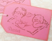 Pink Sleeping Baby Baby Shower Tags Precious Girl Set of 12