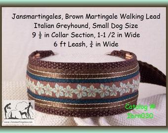"Janmartingales, Brown Dog Collar Leash Combination Walking Lead,  Italian Greyhound, Small Dog Size, 9 1/2"" Collar Section. ibrn030"