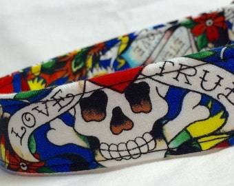 Ed Hardy Fabric Dog Collar Valentines Day Gift Skulls Hearts Tattoo
