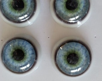 NEW Pair of Flecked Blue Green  Round Pupil  Glass Taxidermy Eyes- For coyotes and more 18/22 mm Stock No.  2C1822