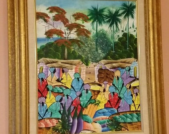 Vintage Framed Oil Canvas Painting of Haitian Village Signed Rany