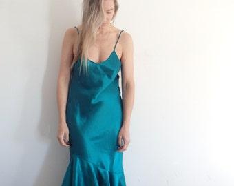 Slip Dress Vintage Satin Open Back