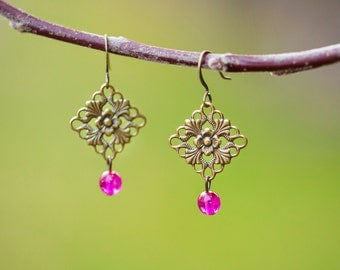 Southern Bridal Jewelry, Hot Pink Earrings, Ornate Brass Filigree Vintage Inspired Country Chic Jewelry