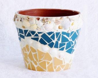 Mosaic Pot Mosaic Garden Pot Small Pot For Plants Seashell Mosaic Pot Mosaic  Planter Mosaic Tile