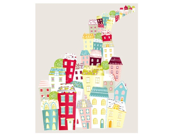 City Living, Colorful Print for Home, Skyline Cityscape Paper Print, Modernist, Home interior decoration, nursery, baby, gift idea SPPCL1
