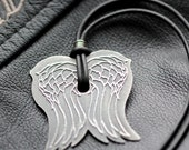 Angel Wings Necklace Leather and Sterling Silver, Pendant Necklace Unisex, Mens, Womens Free Shipping