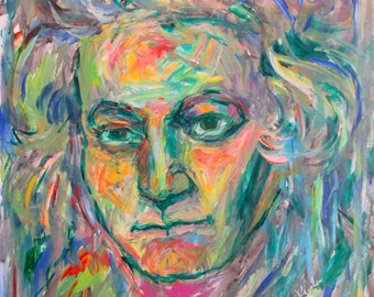 Beethoven Energy Art Original 24x18 Expressionist Acrylic painting of Famous Composer by Award Winner Kendall Kessler