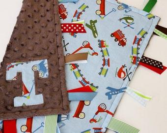 taggie, blanket, baby, boy, gift, personalized, custom, trains, transportation, blue, brown, sensory, lovey, minky, ribbon