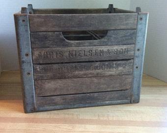 Vintage 1959 Wooden Milk Bottle Crate #B
