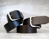 "Snap on Belt 1.5"" Top Grain Leather -Superior Quality Oil Tan Leather Snap on Belt in Black or Brown For Men/Women (sizes small/medium/xl)"