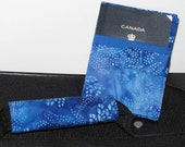 Passport Cover, Document Holder with matching Luggage Handle Wrap, Blue Batik