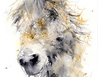 LIMITED edition print of my DONKEY wall art, home decor, nursery art, wildlife animal art.  hand signed, illustration, animal art