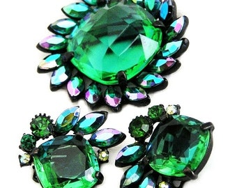Claudette Emerald Green Brooch and Clip Earring Set