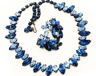 Blue Necklace with Clip Matching Earrings