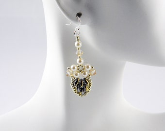 "READY TO SHIP California Graphite Superduo Swarovski Beadweaving Earrings ""Splendid Leaves"""