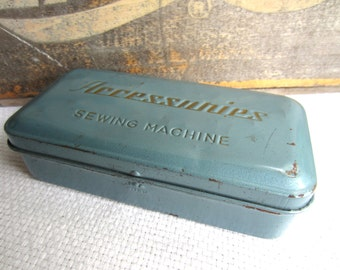 Vintage Sewing Machine Accessories Tin Box Industrial Blue