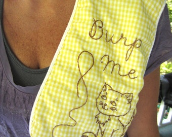 Vintage Burp Me Embroidered Yellow Gingham Burp Cloth Kitty