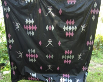 Vintage Mid Century Harlequin Jester Diamond Black Shower Curtain Silver Pink