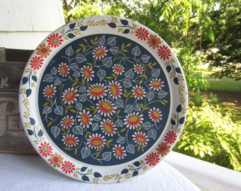 Vintage Mid Century Eames Maxey Daisy Toleware Metal Tin Tray Round