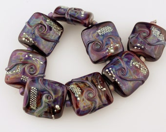 Lampwork Glass Bead Set, Pillow, Nugget, Square in Purple, Blue, Green, Burgundy with Fine Silver