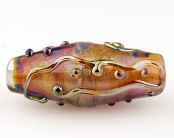 Lampwork Glass Bead Organic Focal Gold Iridescent Dichroic  'Spun Sugar'