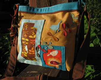Birds on a Ribbon of Vines/ Rustic Waxed Canvas Shoulder Bag /3 Large interior pockets with Large Back zipper pocket on back