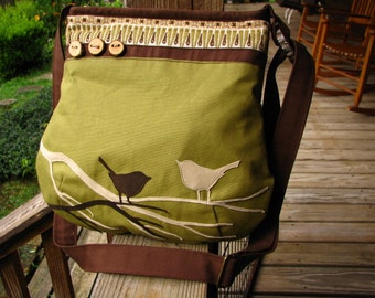 ChirpingTwo Bird Tote/READY TO SHIP/ Appliqued Ultra Suede Birds and Trees/Zipper opening/  Large  Zipper pocket and 3 open pockets inside