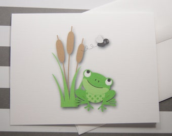 Frog Note Cards with Cattails and Fly set of 10 with Envelopes GC108