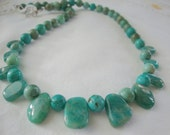 FREE SHIPPING Green and Turquoise Stone necklace