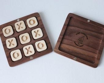 Travel Tic Tac Toe Game - Handmade walnut