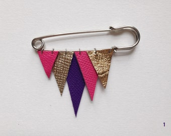 ICICLE metallic and colourful leather brooch - pink, purple, gold