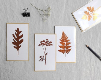 Botanical leaf copper metallic foil mini print card with envelope botany shiny ltd ed 'Botanique Electrique' collection