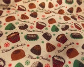 Believe Chocolate Sparkle Christmas Fabric-Candy Fabric-Christmas Chocolate Fabric