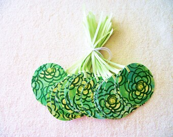 10 Round Green Flowered Gift Tags-Satin Ribbon-Weddings-Hang Tag- 3.00 Flat Rate Shipping