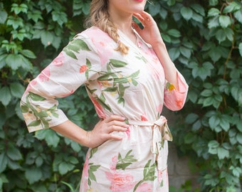 Blush Pink Large Floral Blossoms Patterned Robe | Kimono Style getting ready robe for wedding day, bridal shower, dressing gown