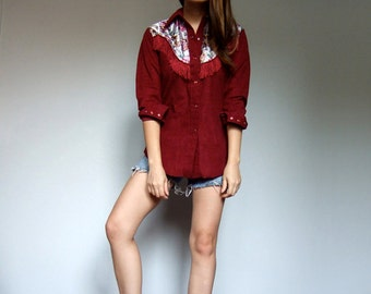 Burgundy Shirt Cowgirl Fringe Top Vintage 80s Country Western Pearl Snap Shirt Button Up Shirt - Medium M