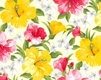 "Yellow Tropical Cotton Poplin, Gertie by Gretchen Hirsch Fabric, 43"" wide, 1 yard"